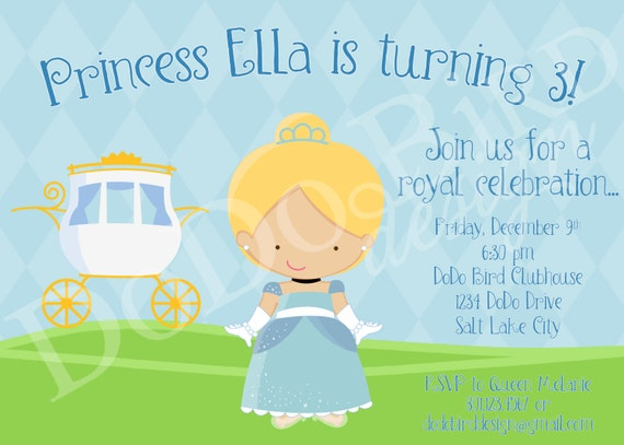 Cinderella Inspired Princess Birthday Party Invitation Girl Personalized Printable Digital DIY