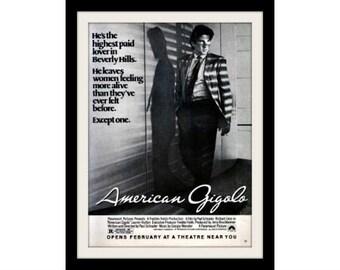 1980 American Gigolo & Richard Gere Movie Ad, Vintage Advertisement Print
