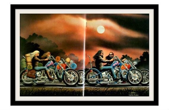 "DAVID MANN Motorcycle Sunset Art ""His & Hers"" Vintage Harley Davidson Easyriders Print, Wall Decor"