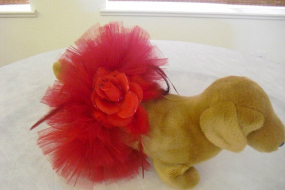 Dog Tutu red with beautiful red glitter flower and feathers. PERFECT for Christmas XS / S
