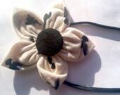Headband, Black and Cream Flower, Swallow Print