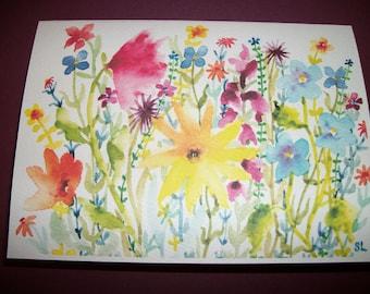 Wildflowers watercolor print blank card.