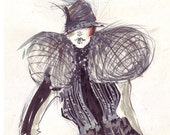 Fashion sketch costume with a lot of details