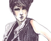 Fashion illustration preciously decorated model magenta black markers and watercolors
