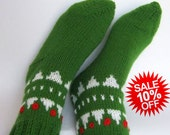 10% (((REDUCED PRICE))) Handmade  knitted green Socks men's or women's from wool