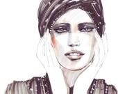 Fashion illustration portrait model mixed techinque, Ioana Avram watercolor, bijuterra, art, printed illustration