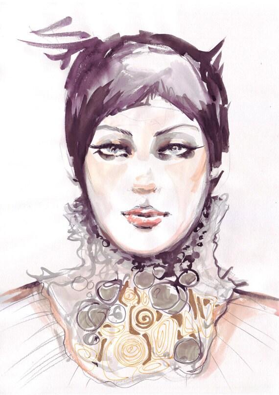 Fashion illustration portrait in watercolors