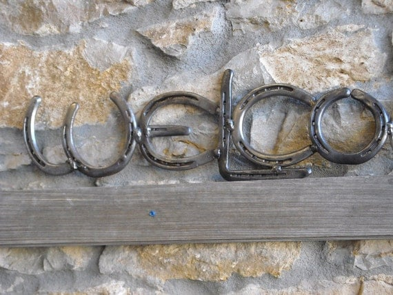 Horse Shoe Welcome sign, Upcycled Shoes