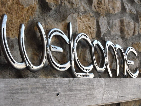 Horse Shoe Welcome sign, Made by Mike Hill, Artist Blacksmith