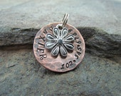 Pet ID Tag Hammered and  Domed Copper with a Flower Charm Pet tag/tags Dog Tag