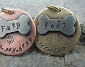 Pet ID Tag - Pet Tag - dog id Tag - Collar Tag - with a Nickel Bone - Brass or Copper Custom Pet ID Tag - Personalized pet - Pet Accessories