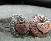 Dog Tag - Collar Tag - Small Pet Tag - Custom Pet ID Tag -Copper Heart Tag On Nickel Or Copper Disc- Engraved Personalized Pet ID Tag