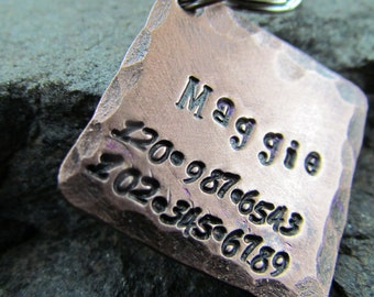Pet ID Tag - Dog Tag - Pet Tag - Dog Collar Tag in Copper with Hammered Edges - Personalized Engraved