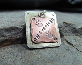 Pet ID Tag - Pet Tag - Dog Tag - Personalized Pet/Dog Tag - Pet Accessories - Mixed Metal Tag - Personalized Engraving - Custom Hand Stamped