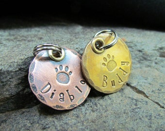 Dog Tag - Small Pet ID Tag - Pet Tag - Engraved - Personalized - Pet Accessories - Dog Collar - Hand Stamped - Dog collar tag- Pet Accessory
