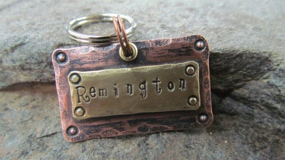 Handstamped Dog tag - Dog collar - Dog collar tag - Personalized Pet/Dog tag - Pet accessories - Engraved Pet tag - Pet Tag - Custom pet tag
