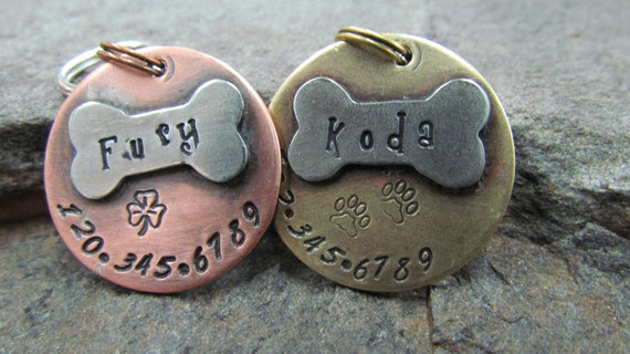 Pet ID Tag - Pet Tag - Dog Tag - Collar Tag - with a Nickel Bone - Brass or Copper Custom Pet ID Tag - Personalized pet - Pet Accessories