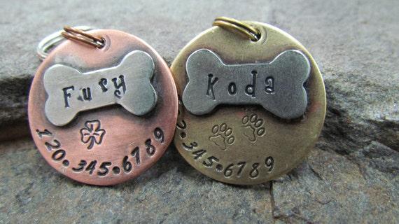 Pet ID Tag - Pet Tag - dog id Tag - Collar Tag - with a Nickel Bone - Brass or Copper Custom Pet ID Tag - Personalized pet - Pet Accessories