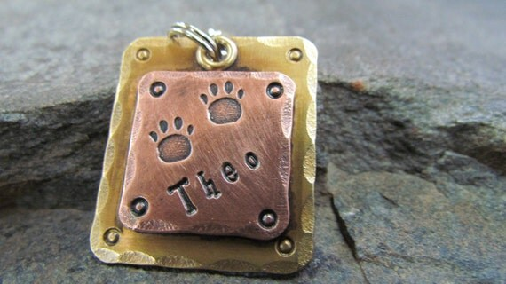 Pet ID Tag-Large Pet Tag -  Dog tags for dogs - Collar - Dog collar tag - Engaved - Copper on Brass - Mixed Metal Dog Tag- Halter/Bridle tag