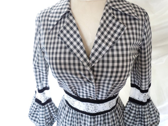 "Vintage Square Dance Costume 1980s Black and White Gingham reserved for ""L"""
