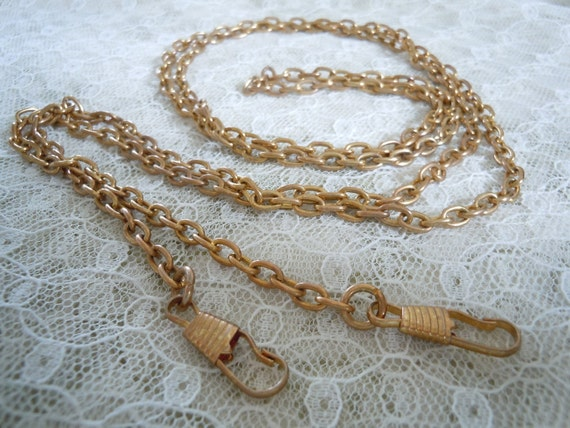 Vintage Watch Chain or Fob in brass 50 inches long