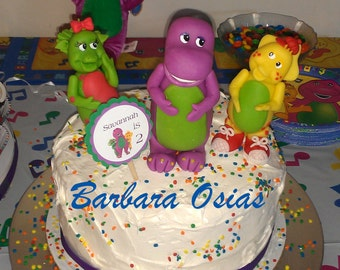 Inspired Barney, BJ, and Baby Bop Inspired Cake Toppers and Display Made From Cold Porcelain Clay