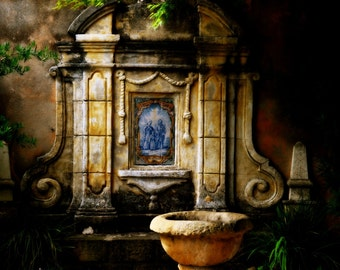 8 x 12, Carmel Mission, Spiritual, Fountain, Home Decor, Peaceful, Blue, Stone, Garden, California, Green