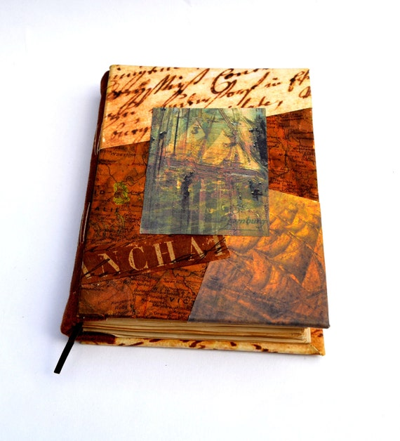 SALE Journey journal, blanc, coffee colored pages, pay shipping on first item --rest of order ships free