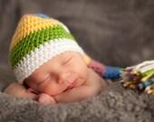 Striped Pixie Hat, Baby Stocking Cap, Multi Colored Newborn Photo Prop
