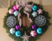 Happy Christmas Wreath and Decoration in Pink, Purple and Blues