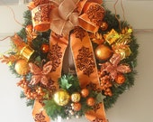Modern Orange Christmas Wreath and Decoration OOAK, Treasury, Home Decor, Holidays, New Years