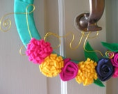 """Colorful """"Love"""" Valentines or Spring Ribbon Wreath with Felt Flowers, 12 inches"""