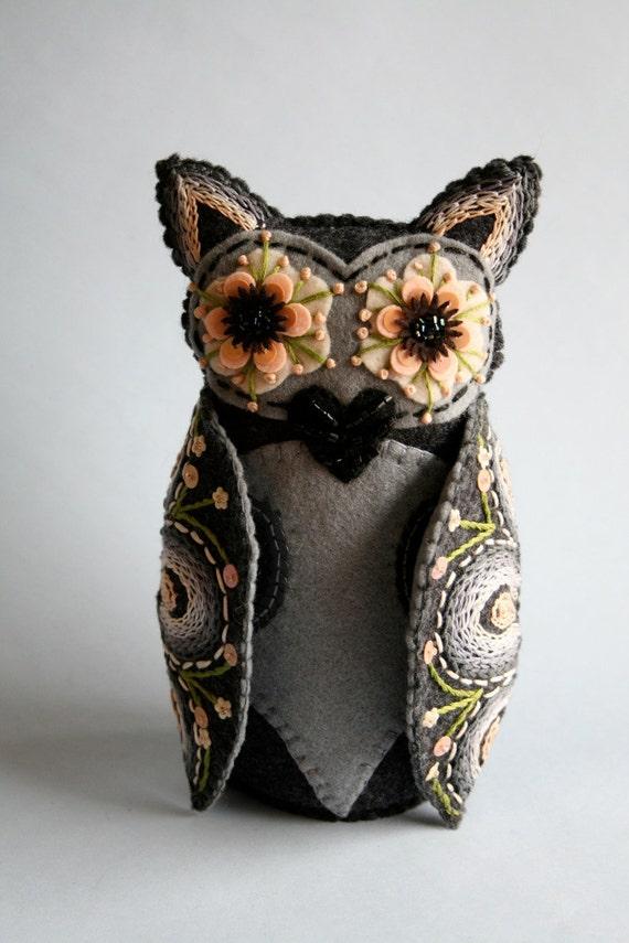 Owl Doll- Embroidered Felt- Mexican Folk Art- Hoot