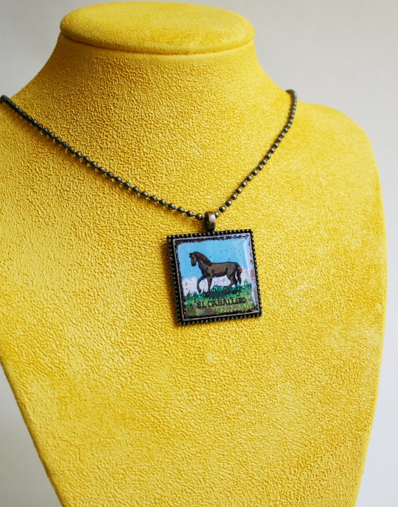 Horse / Pony Pendant - Mexican Loteria Necklace- El Caballito/ The Pony