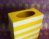 Vintage Yellow and White Striped Vase