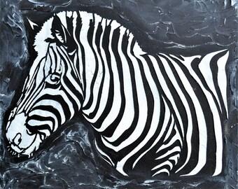 "Original Abstract Painting Heavy Texture Impasto -Zebra- Acrylic Painting by Carola, 16""x16"" FREE SHIPPING"