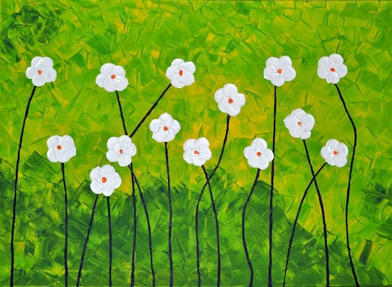 "Flowers-Original abstract painting acrylic on canvas 20"" x 28"" FREE SHIPPING"