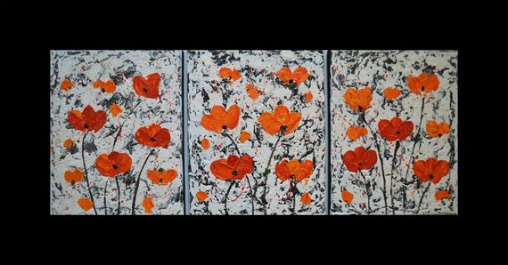 "Sale 25% Original Modern Abstract Heavy Texture Impasto Acrylic Painting  flowers on canvas by Carola, 3 piece 10""x12"" FREE SHIPPING"