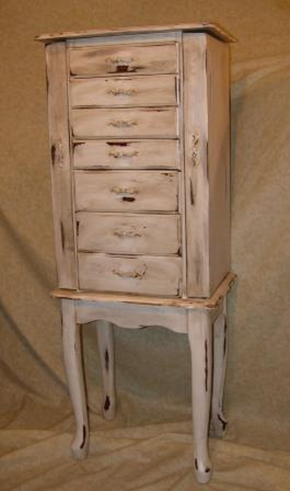 Vintage jewelry armoire distressed for Juno vintage modern jewelry armoire