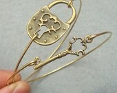 Fancy Key and Lock Bangle 2 Bracelet Set