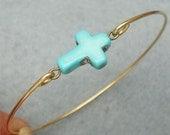Classic Turquoise Cross Brass Bangle Bracelet