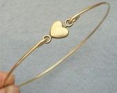 Heart Brass Bangle Bracelet Style 4