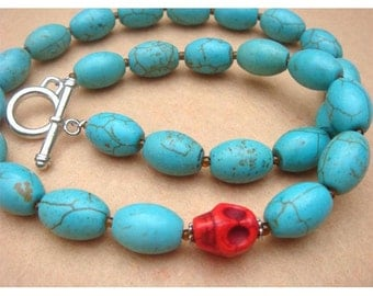 Skull and Turquoise Necklace