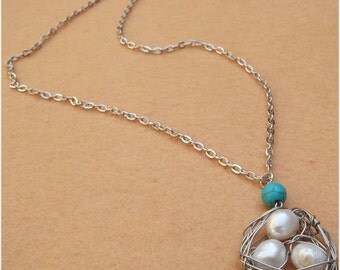 Bird Nest and Pearl Turquoise Necklace