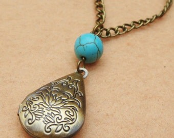 Locket and Turquoise Necklace