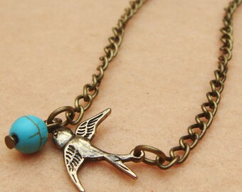 Bird and Turquoise Necklace