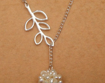Leaf and Fresh Water Pearl Ball Necklace
