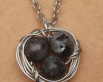 Nest and Natural Labradorite Necklace