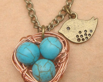 Nest Bird and Turquoise Necklace