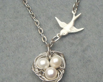 Bird Nest and Pearl Necklace